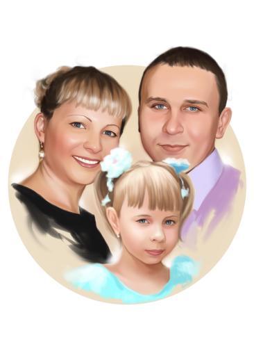 Семейный портрет по фото на холсте в Ростове-на-Дону — правильный подарок!